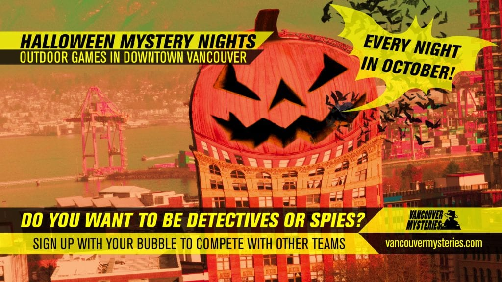 halloween downtown vancouver mystery nights poster